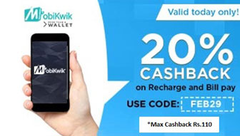 Recharge & Bill Payments 20% Cashback on Rs.20 From Mobikwik