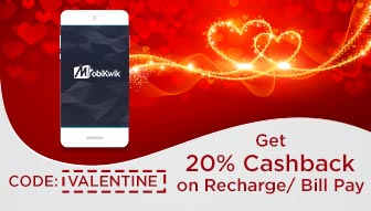 20% Cashback on recharge & bill payments done on MobiKwik (Max. Cashback amount is fixed at Rs. 140 (Not for the operator Airtel)