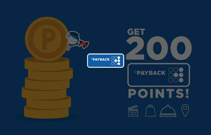 Pay twice & get 200 PAYBACK points!