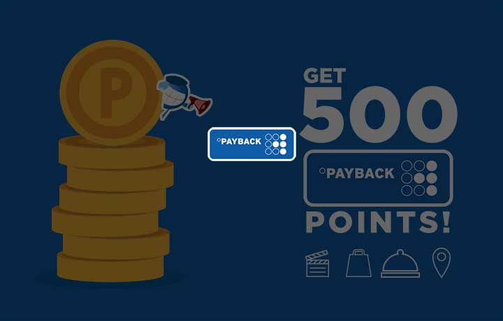 Pay across 3 categories & get 500 PAYBACK points!