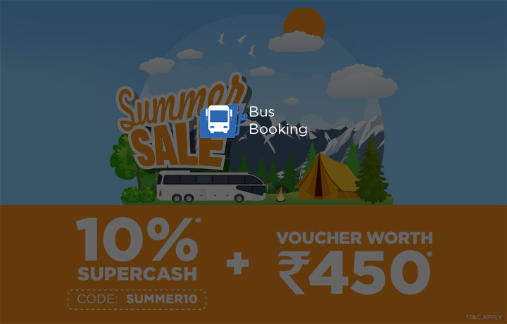 Get 10% SuperCash on BusBooking : Use code SUMMER10