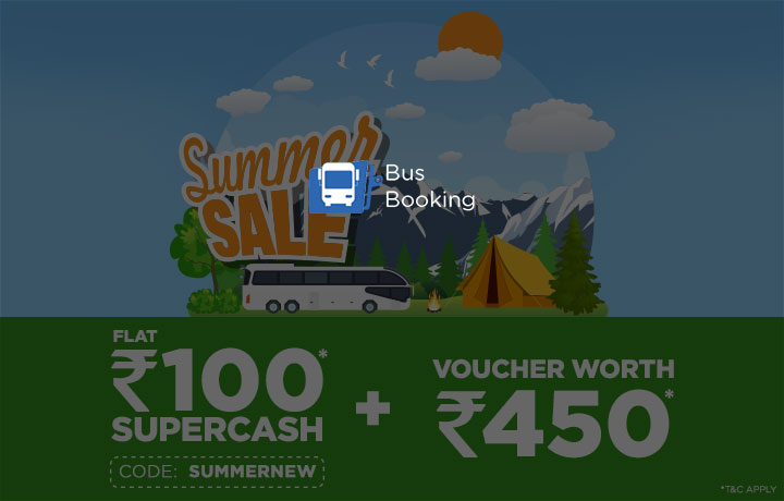 Flat Rs. 100 Supercash on first BUS booking with code SUMMERNEW!