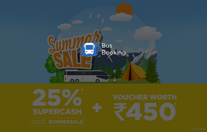 Get 25% SuperCash on Bus Booking : Use code SUMMERSALE